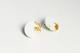 White Concrete Fractured Earrings - Large Stud - Gold