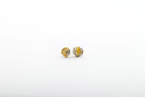 Marble Concrete Fractured Earrings - Small Stud - Gold