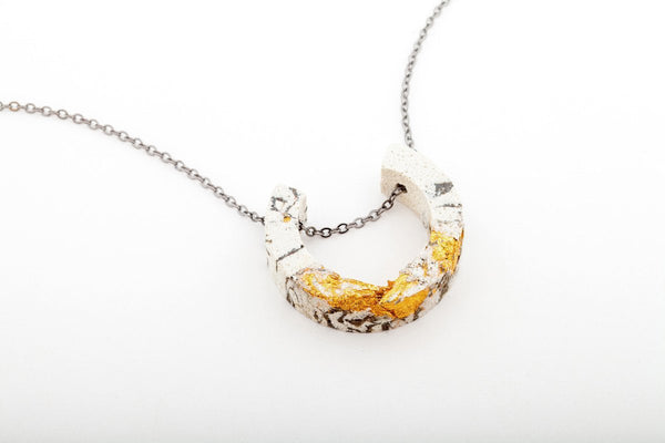 Marble Concrete Fractured Necklace - Arc - Gold