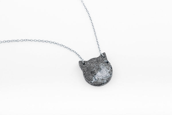 Concrete Fractured Necklace - Cat - Silver