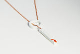 White Concrete Fractured Necklace -Loop - Copper
