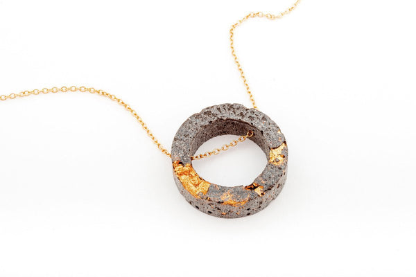 Concrete Fractured Necklace - Open Circle - Copper