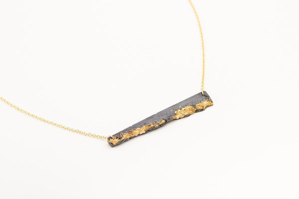 Concrete Fractured Necklace - Offset Bar - Gold