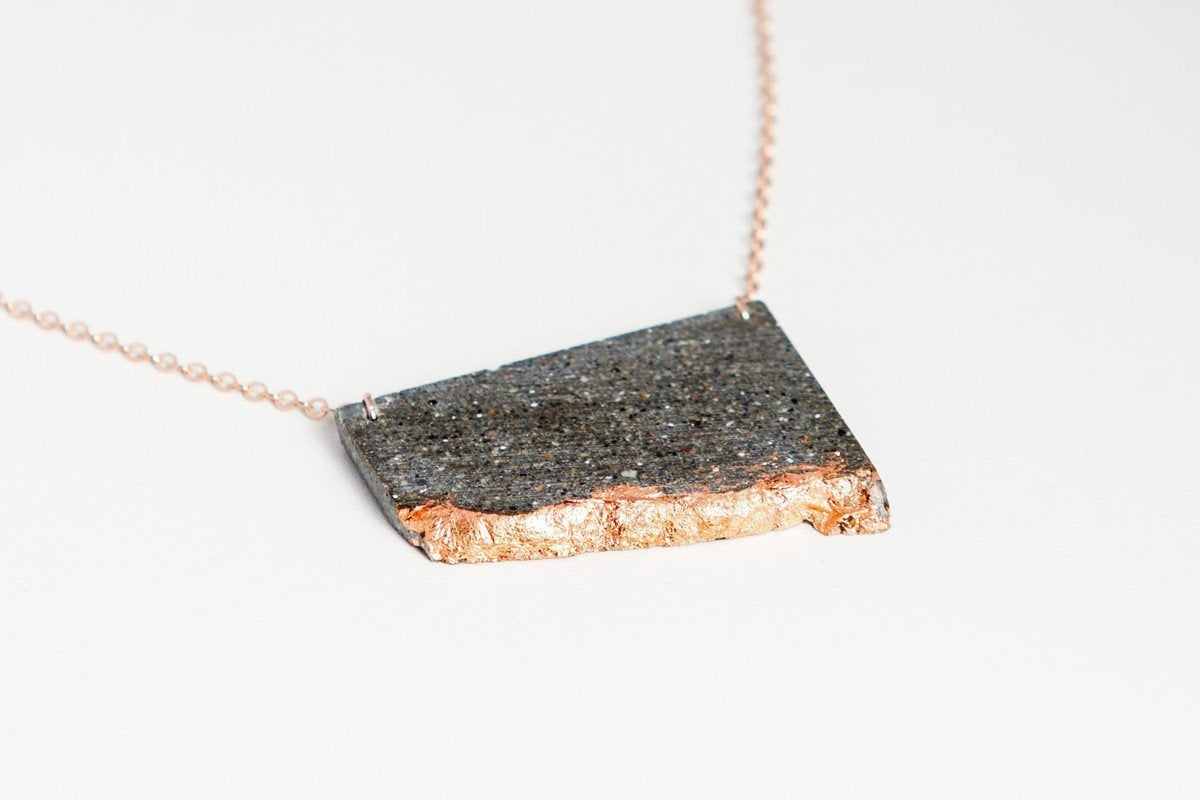 Concrete Fractured Necklace - Offset Large