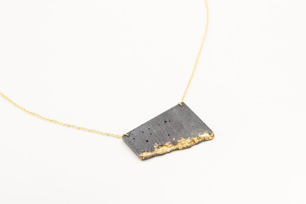 Concrete Fractured Necklace - Offset Large - Gold