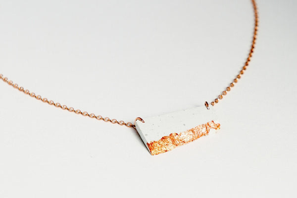 White Concrete Fractured Necklace - Offset Small - Copper