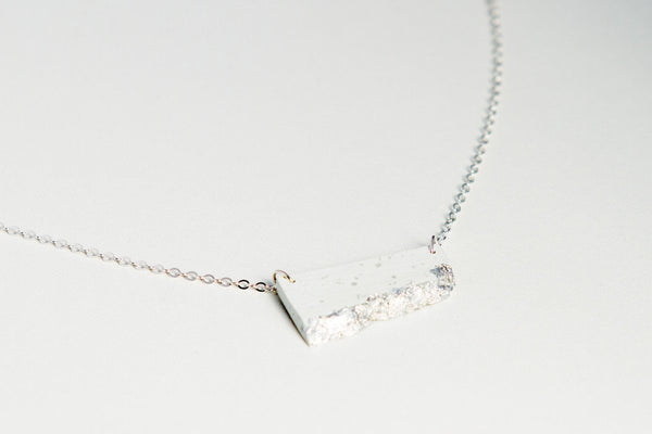 White Concrete Fractured Necklace - Offset Small - Silver