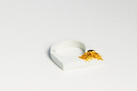 White Concrete Fractured Ring - Offset - Gold