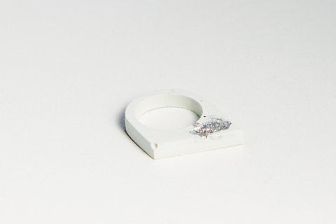 White Concrete Fractured Ring - Offset - Silver