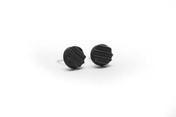 Gray Concrete Ripple Earrings - Stud Circle Small