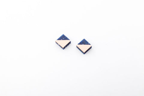 Corian Section Earrings   - Small - Cobalt