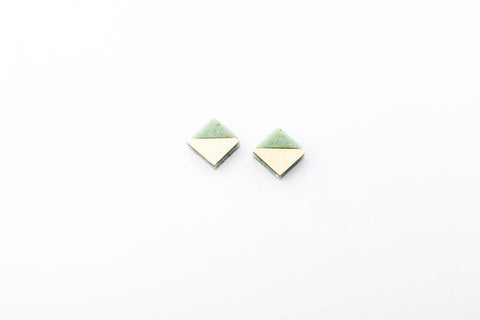 Corian Section Earrings   - Small - Jade