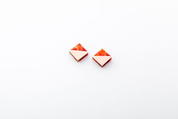 Corian Section Earrings  - Small - Lava
