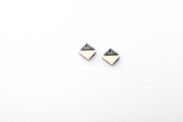 Corian Section Earrings   - Small - Marble