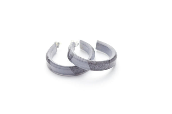 Fossil Leaf Gray Hoop Earrings - Small