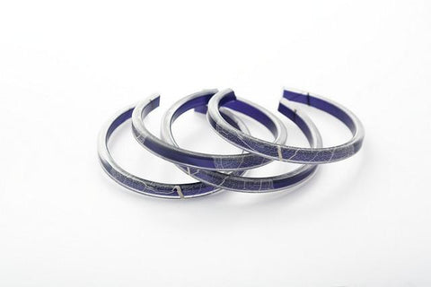 Fossil Leaf Indigo Bangle