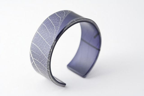 Fossil Leaf Indigo Cuff - Narrow