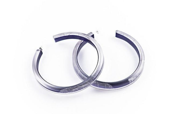 Fossil Leaf Indigo Hoop Earrings - Large