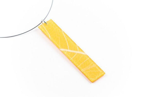 Fossil Leaf Tangerine Necklace - Long