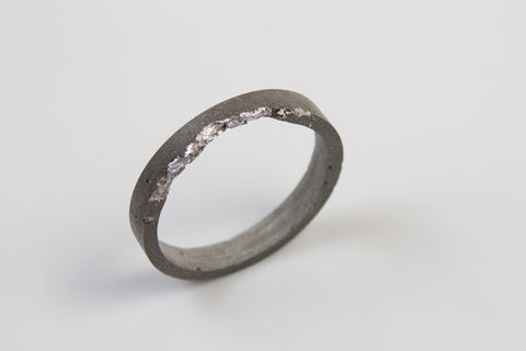 Concrete Fractured Bangle - Circle - Silver