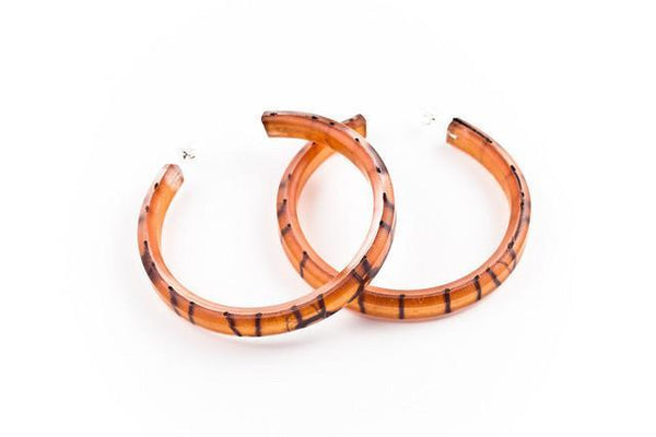 Lasso Coal Copper Hoop Earrings - Large