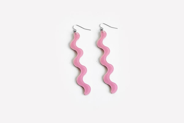 Lilac Squiggle Earrings Long