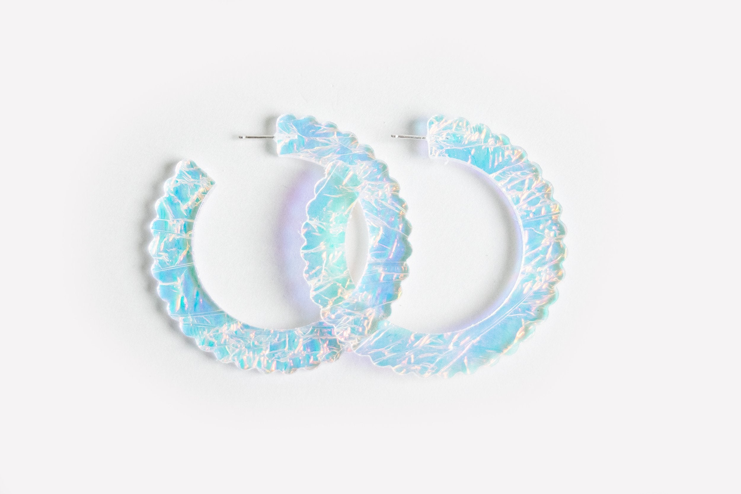 Ecoresin Scallop Earrings - Large Hoop