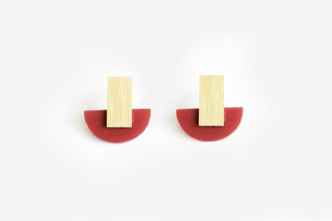 Merlot Earrings - Arc Stud