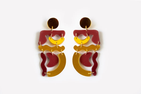 Merlot Reflect Gold Squiggle Mania Earrings