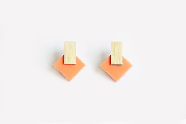 Peach Earrings - Diamond Stud