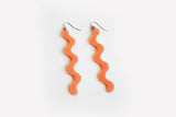 Peach Squiggle Earrings Long