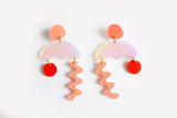 Peach Punch Solar Squiggle Storm Earrings
