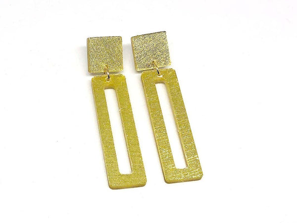 Pure Gold Ecoresin Earrings - Bar - Small