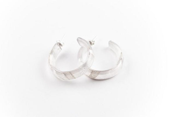 Swept Silver Hoop Earrings - Small