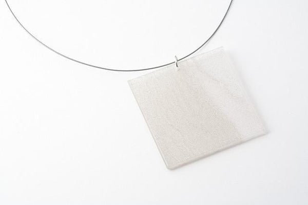 Swept Silver Necklace - Lrg Square