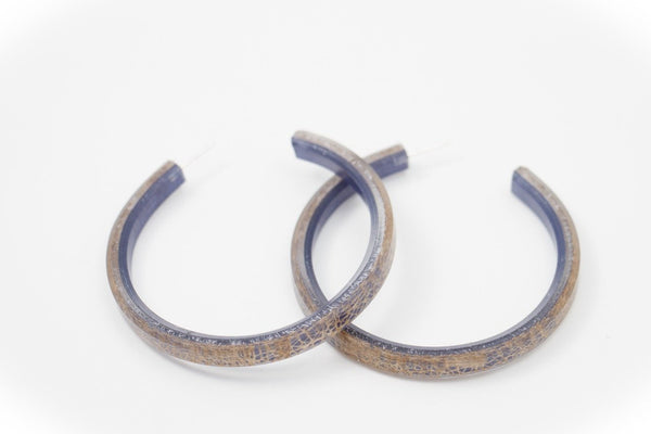 Wild Silk Indigo Hoop Earrings - Large