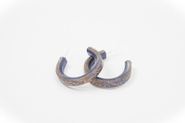 Wild Silk Indigo Hoop Earrings - Small
