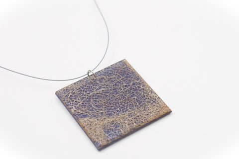 Wild Silk Indigo Necklace - Lrg Square