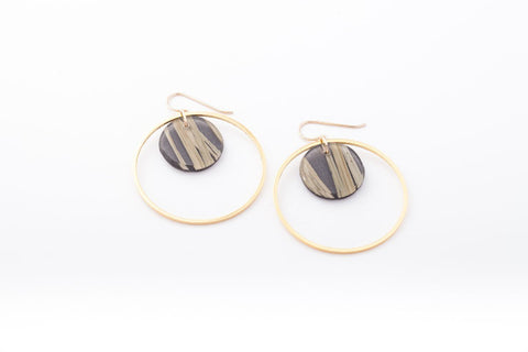 Bear Grass Black Earrings - Double Circle
