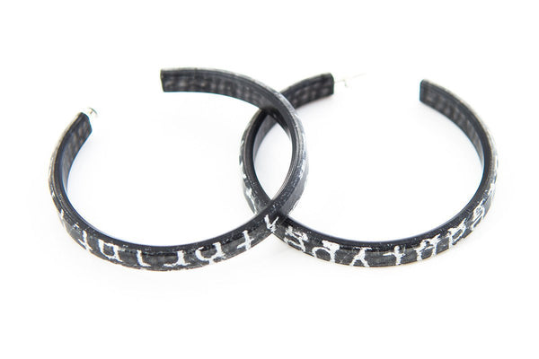 Courier Black Hoop Earrings - Large
