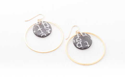 Courier Black Earrings - Double Circle