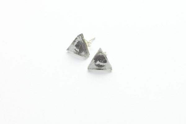 Courier Black Stud Earrings - Triangle