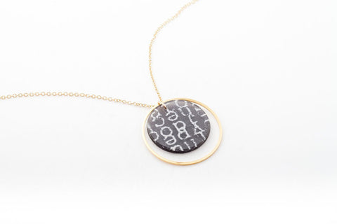 Courier Black Necklace - Double Circle