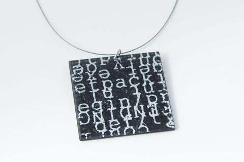 Courier Black Necklace - Lrg Square