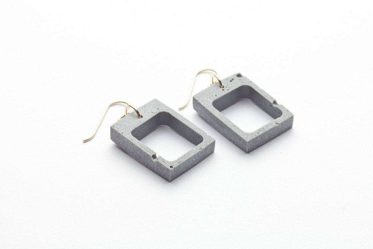 Concrete Outline Earrings - Rectangle