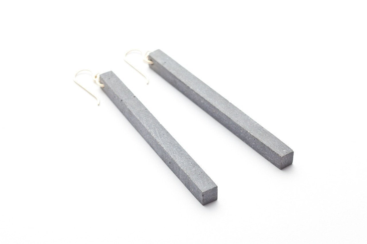 Concrete Fractured Earrings - Skinny 3 Inch