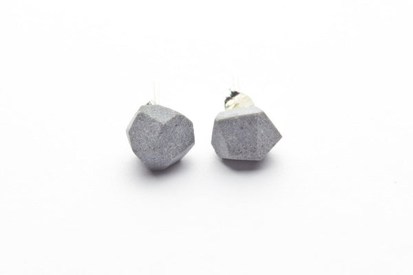 Cement Earrings - Faceted Stud