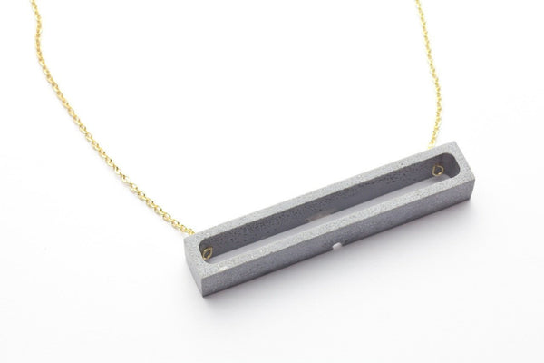 Cement Outline Necklace - Rectangle
