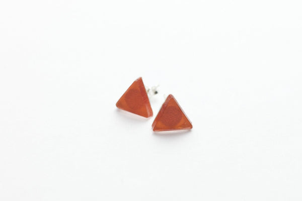Coral Stud Earrings - Triangle