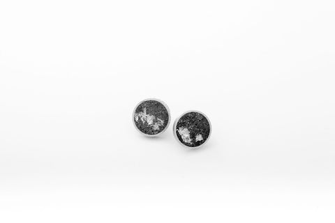 Concrete Aluminum Earrings - Medium Stud - Silver